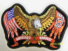 Motorcycle riders! Fireman, Firefighter winged eagle + U.S. flag quality patch