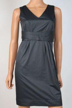 Ann Taylor Loft Gray Cotton Vneck Pleated Waist Sheath Dress  Size 0P