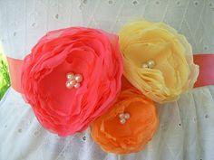 Fabric flower ribbon sash belt in bright citrus by GoldcoastChic