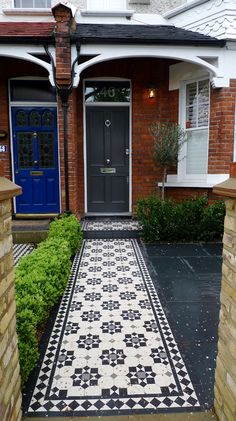 Bespoke Front Garden Bike Store Paving Slate Patio Front Metal Wrought Iron Rail And Victorian Mosaic Tile Path Yellow Brick Garden Wall Wimbledon London - London Garden Design Victorian Front Garden, Victorian Front Doors, Victorian Terrace House, Victorian Gardens, Garden Tiles, Brick Garden, Garden Paths, Terrace Garden, Path Design