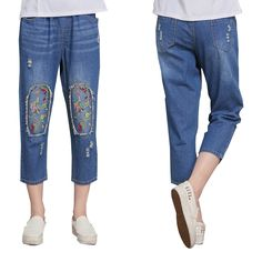 35.00$  Buy here - http://alicrd.shopchina.info/go.php?t=32802681821 - Aliexpress Monikubu Women's fashion casual big plus size clothing denim embroidery pants trousers jeans for female ladies 35.00$ #buyonlinewebsite