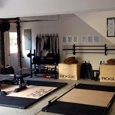 Garage Gyms & Ideas Gallery Pg 9 All out Rogue Fitness fan - so much Rogue; all Rogue!All out Rogue Fitness fan - so much Rogue; all Rogue! Crossfit Garage Gym, Home Gym Garage, Crossfit At Home, Diy Home Gym, Gym Room At Home, Basement Gym, Car Garage, Dream Garage, Rogue Fitness