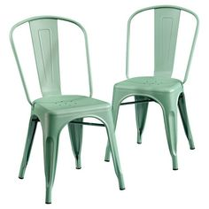 Metal Cafe Dining Chair Set Of 2