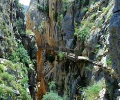 Ooooh, terrifying and GORGEOUS...must see this one day.  El Caminito del Rey, El Chorro, Spain, in the province of Malaga.