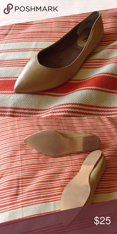 Pointy natural colored flats by Abound Only been tried on. Excellent new condition. Good for wide feet. Abound Shoes Flats & Loafers