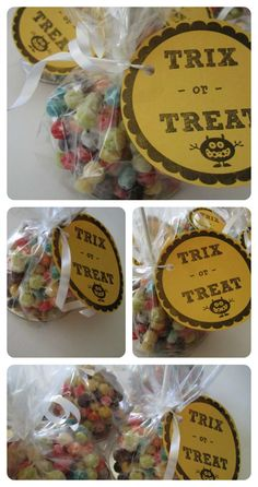 "A fun Halloween snack: ""Trix or Treat"" (rice krispy treats on a stick, but with Trix cereal instead of crispy rice!) FREE PRINTABLE INCLUDED!"