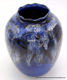 "Stoneware Ceramic Art Pottery Drip Glaze Vase Fluted Rim Blue White Signed 7.5"" #HandcraftedArtPottery"