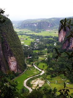 Lembah Harau.  Harau Valley, located in west Sumatra province, Indonesia.  You can see the beauty of its surroundings. Granite cliffs towering to the unique shape around the valley.