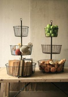wire basket tower . . . oh, the centerpieces that could be made from this!