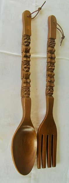 "Wooden Tiki Fork and Spoon Kitchen wall Decor large 27""   #1980s"