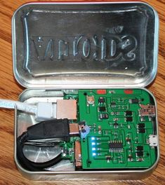 Spy computer is small enough to fit in an Altoids tin box