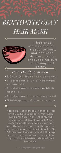Detox your with a Bentonite Clay hair mask How to make a DIY bentonite clay mask for your hair Natural Hair Tips, Natural Hair Journey, Natural Hair Styles, Natural Beauty, Natural Women, Clay Hair Mask, Hair Masks, Bentonite Clay Mask Hair, Clay Masks