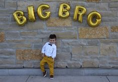 Finally did a big brother announcement!! So excited. Balloons purchased on eBay, shirt & chino pants h&m kids, shoes target, bow tie Burlington coat factory!
