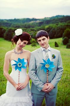 """What if guests had shiny pinwheels instead of confetti for the """"getaway car"""" run?"""