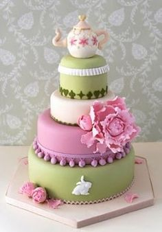 "This cake has a simple and elegant look to it, while still incorporating the ""Alice"" theme. The pastels are beautiful!"