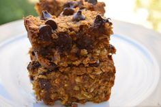 Pumpkin Almond Butter Oat Bars - I ground up the oats some in the Vitamix.  I baked them in my 8X11 pan.  Smaller would have been way too thick.