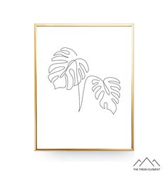 Monstera Leaf Print Monstera Printable Wall Art Botanical Poster One Line Art Tropical Leaf Print Plant Prints Minimalist Art Bedroom Decor Art Tropical, Diy Canvas Art, International Paper Sizes, Minimalist Art, Leaf Prints, Map Art, Botanical Prints, As You Like, Printable Wall Art