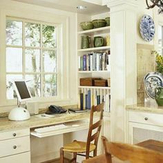 Kitchen Desk Area-consider these shelves beside our window