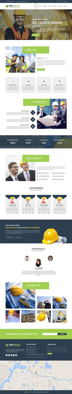 Msn Mistiri is finest Bootstrap Template for #construction company website. #webdesign Download Now