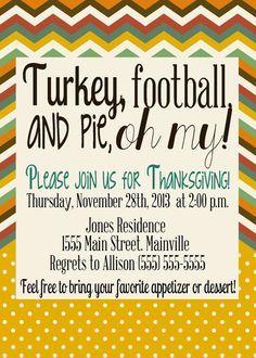 Turkey, football and pie, oh my! invitations