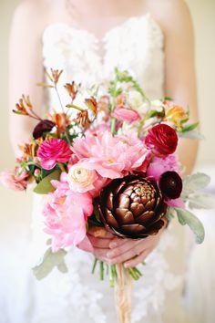 Rustic boho bouquet | Read More: http://www.stylemepretty.com/little-black-book-blog/2014/08/25/rustic-bohemian-wedding-inspiration/ | Photography: Kay English - kayenglishphotography.com | Floral Design: reveriemade.com