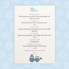 An Owl wedding menu card which features two sweet owls dressed as a Bride and Groom, or two Brides or Grooms. Owl Wedding, Wedding Day, Wedding Menu Cards, Wedding Stationery, Marie Rose Sauce, Salmon Roulade, Fresh Fruit Salad, Salad Topping, Two Brides