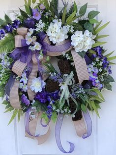 Spring Wreath, Hydrangea Wreath, Wistaria Wreath, SpringSummer Wreath, Purple Wreath,Front Door Wreath, Wreath, Grapevine Wreath. by SassyDoorsWreaths on Etsy