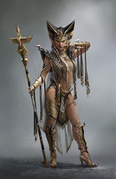 Nefertiti by daeyoon huh character design fantasy art, fanta Fantasy Women, Fantasy Girl, Dark Fantasy, Character Concept, Character Art, Concept Art, Egyptian Goddess, Egyptian Art, Fantasy Characters