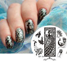 Peacoak Theme Nail Art Stamp Template Image Plate BORN PRETTY #04 Nail Tool