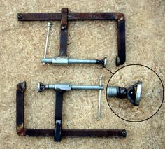 F-Style Clamps by mlochala -- After using a co-worker's quick adjust F-style clamps, I knew I had to have a pair.  The only problem, however, was that the good ones were very expensive ($70 plus per clamp) and the affordable ones didn't seem very strong.  So, left to my own devices, I used some leftover metal stock that I had and made them myself. They work very well and they are very strong.  The most challenging part of making these was coming up with a good but simple swivel design…