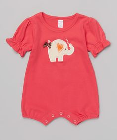 Look what I found on #zulily! Red Heart Elephant Romper - Infant by Petunia Petals #zulilyfinds