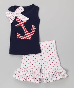Look what I found on #zulily! Beary Basics Red Chevron Anchor Tank & Ruffle Shorts - Infant, Toddler & Girls by Beary Basics #zulilyfinds
