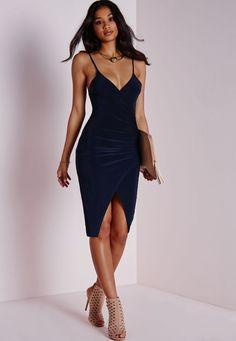 Slinky Strappy Asymmetric Bodycon Dress Navy - Dresses - Bodycon Dresses -  Missguided Resmi Elbiseler 9bba9eb40