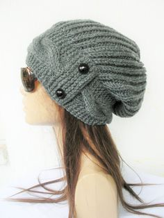 Items similar to Womens Slouchy hat Winter hat , Winter fashion , Slouchy Hat , Knit Hat Charcoal Gray Beanie gift for her Winter Accessories on Etsy Womens Slouchy Beanie Womens hat Winter hat Winter by Ebruk Grey Beanie, Slouch Beanie, Slouchy Hat, Beanie Hats, Ponytail Beanie, Winter Hats For Women, Winter Accessories, Etsy, Hand Knitting