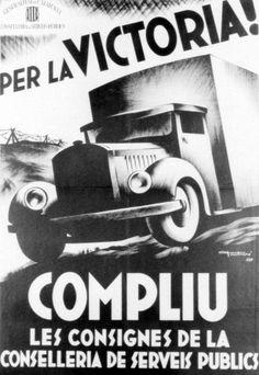 Catalan antifascist propaganda from the Spanish Civil War. Balearic Islands, World War Ii, Spanish, Aviation, Cat, War, Spanish Posters, Political Posters, Culture