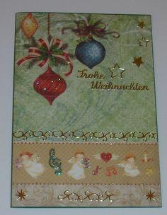 Weihnachtskarte -  grün mit Kugeln und Engeln