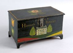 Jonas Weber (Lancaster County, Pennsylvania, 1810-1876), painted pine trinket box dated 1848 and inscribed Hannah S. Ressler, the lid and sides with vibrant floral decoration, the front with a large white house flanked by pine trees, above a tricolor lawn, all on a dark green/blue ground, 5 3/4'' h., 10 1/4'' w. sold for$ 38,000
