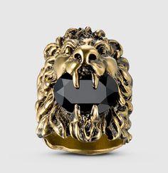 Gucci - bague tête de lion avec cristal Swarovski 402763J1D508083