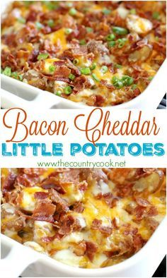 Bacon Cheddar Little Potatoes recipe from The Country Cook. No boiling & no peel… Bacon Cheddar Little Potatoes recipe from The Country Cook. No boiling. Potato Side Dishes, Veggie Dishes, Vegetable Recipes, Food Dishes, Potluck Side Dishes, Veggie Food, Cheddar Potatoes, Baked Red Potatoes, Crack Potatoes