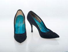 Vintage Shoes 60s Herbert Levine Gold Label Black Velvet Hourglass Pumps Shoes 7B. $58.00, via Etsy.