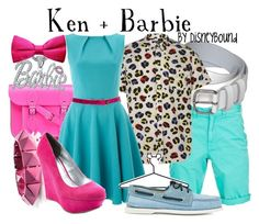 """""""Ken + Barbie"""" by leslieakay ❤ liked on Polyvore featuring The Cambridge Satchel Company, Noir Jewelry, Closet, Charlotte Russe, Disney, Band of Outsiders and disney"""