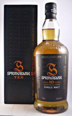Springbank Scotch Whisky 10 year old Whiskey Drinks, Scotch Whiskey, Bourbon Whiskey, Whiskey Bottle, Hard Drinks, Fun Drinks, Springbank Whisky, Blended Whisky, Single Malt Whisky