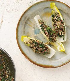 Endive Sardine Boats from TasteBook -- Here's a simple, flavorful recipe to get super-healthy sardines into your rotation. Skip the cream cheese accompaniment, and use water-packed sardines (and a nonstick pan, instead of oil) for Phase 1 and Phase 2.