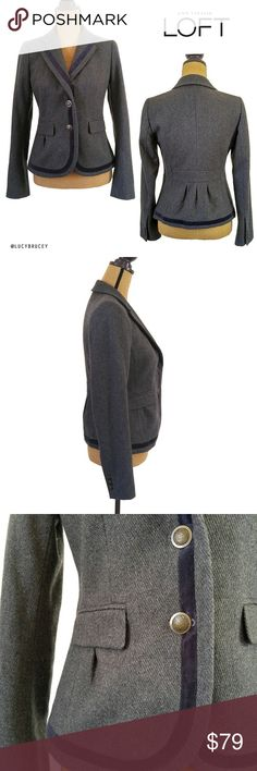Ann Taylor LOFT Wool 2 Button Blazer/Jacket Beautiful and classy 2 button wool jacket by Ann Taylor LOFT. Gray with royal navy blue stripe. 55% wool, 25% rayon, 20% polyester. Lining: 100% polyester Like-new condition Measurements available upon request. LOFT Jackets & Coats Blazers