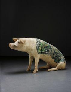 Wim Delvoye tattooed pig achieves 128% increase on estimate