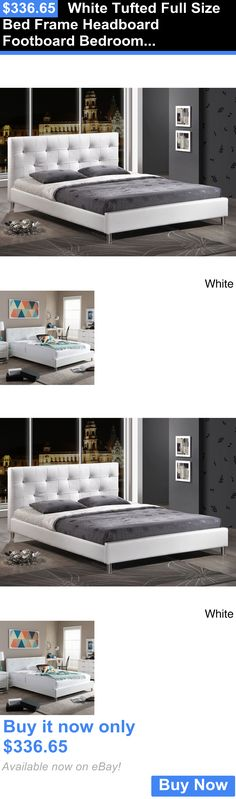 Bedding: White Tufted Full Size Bed Frame Headboard Footboard Bedroom Platform Modern BUY IT NOW ONLY: $336.65