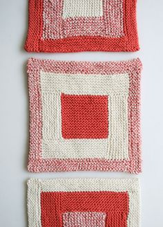 Knit dishcloth - pattern on Purl Bee at http://www.purlbee.com/the-purl-bee/2013/8/11/whits-knits-new-log-cabin-washcloths.html