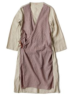 Wrapover gown / dress | Patchwork | Work | Utility | Cream / pink | WEB SHOP - KAPITAL