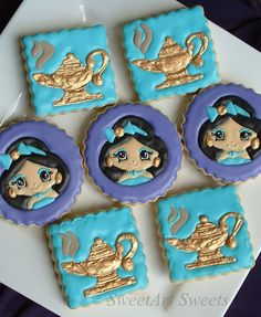 Genie Lamp and princess cookies  1 dozen by SweetArtSweets on Etsy