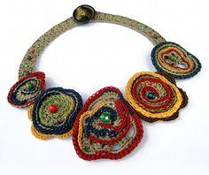 Ethnic Folk Tribal short necklace cotton yarn by GiadaCortellini, €43.00